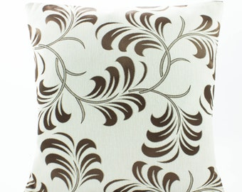 Decorative throw Pillow Cover 18x18 inch,Cotton Silk Pillow in White/ Chocolate Brown Floral,Accent Pillow Designer Pillow, cotton pillow.