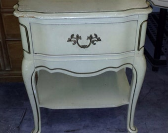 French Provincial Nightstand Bassett Country French Shabby Chic Coastal Cottage Mid Century