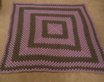 Crocheted Granny Square Baby Afghan/Blanket/Throw; Christening Afghan/Blanket; Purple & Gray Crocheted Granny Square Baby Afghan/Blanket