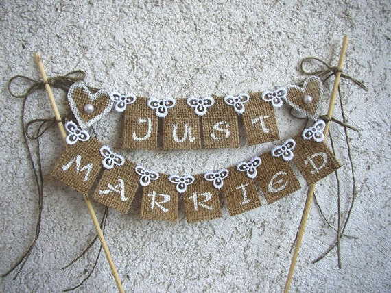 just married bunting wedding cake topper just married rustic cake topper banner hessian wedding 16614