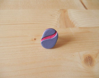 Shimmering purple and intense pink polymer clay ring