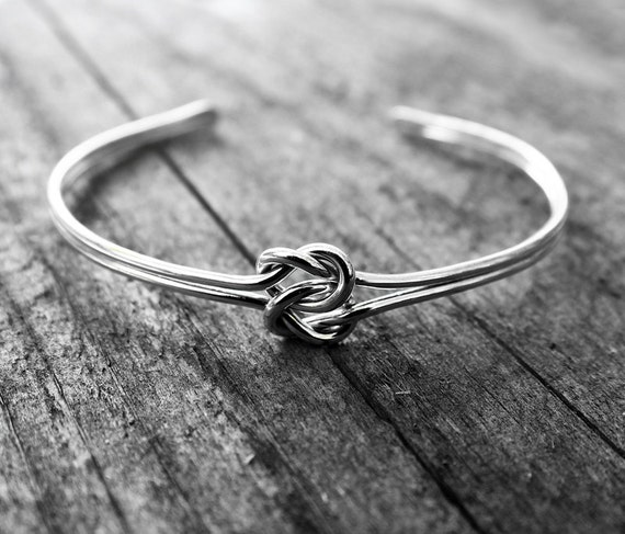 double love knot cuff bracelet sterling silver bridesmaid. Black Bedroom Furniture Sets. Home Design Ideas