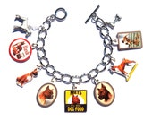Handmade Boxer Dog Charm Bracelet Vintage Altered Art Label Puppy Pewter Charms