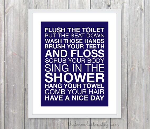 Bathroom Rules Wall Art Print Modern Navy Blue By