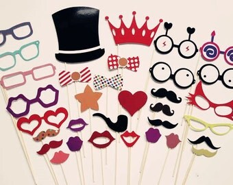 Kids Photo Booth Props On a Stick - DIY Party Photobooth Props Set of 33 - PhotoBooth Props - Party Props - Crown - Hat - Glasses - Ties