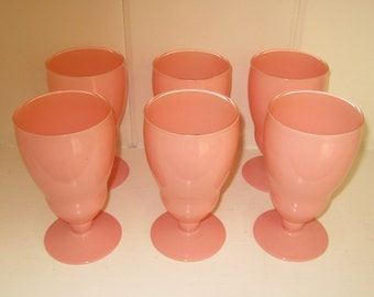 Set of 6 Vintage Hazel Atlas Peachy Pink Ovide Parfait Style Pedestal Glasses