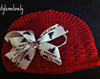 Alanta Falcons Baby Girl Boutique Bow Crocheted Hat