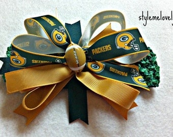 Green Bay Packers Baby Girl Boutique Bow Crocheted Headband