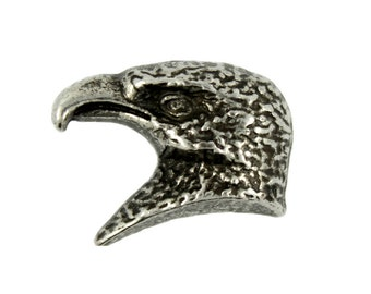 Metal Buttons - Eagle Head Antique Silver Metal Shank Buttons - 18mm - 11/16 inch - 6 pcs