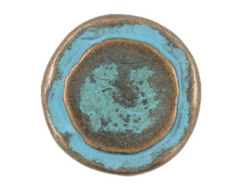 Metal Buttons - Rustic Copper Circles Metal Shank Buttons in Blue Color - 23mm - 7/8 inch - 1 pc