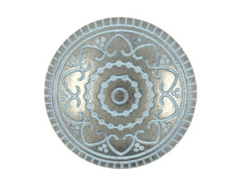 Metal Buttons - Light Blue Hearts Flower Nickel Silver Metal Shank Buttons - 19mm - 11/16 inch - 6 pcs