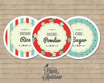 EDITABLE JAR LABELS - Pantry Jar Labels - Country Carnival - Circular - Vintage Modern - 2.5 Inch - Multi-use Labels