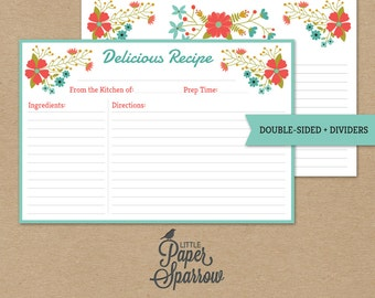 EDITABLE VINTAGE RECIPE card - Wildflowers - Printable Recipe Card & 8 Dividers - Folk Floral - Blue, Coral, Olive, instant download