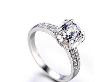 Classic Moissanite Engagement Ring, 18K white gold diamond ring,  Engagement Ring