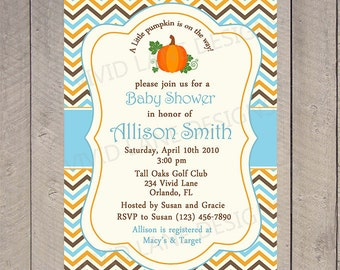 Fall Boy Baby Shower Invitation, Pumpkin, Printable - Autumn, Blue, Brown and Orange, Chevron - 185