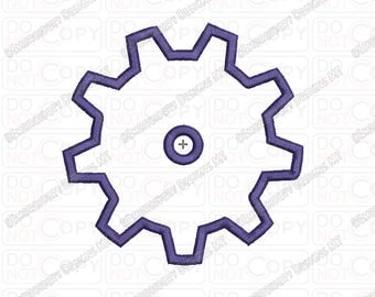 Gear Cogwheel Applique Embroidery Design in 3x3 4x4 and 5x7 Sizes