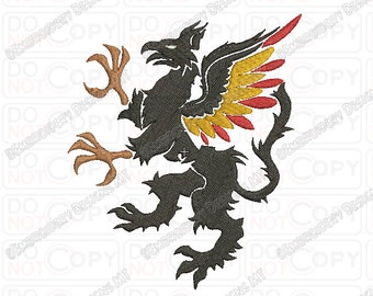 Griffin Griffon Gryphon Heraldy Embroidery Design in 3x3 4x4 and 5x5 Sizes