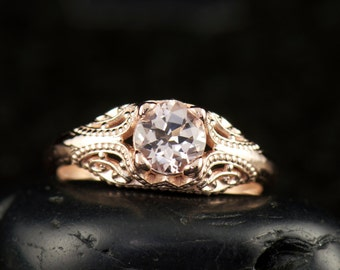 Trinity - Morganite Engagement Ring in Rose Gold, 4-Prong Solitaire with Intricate Filigree and Milgrain, Art Deco Design, Free Shipping