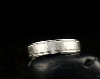James - Gentleman's Wedding Band in White Gold, 6mm, Hammered Finish with High Polish Edges and Milgrain, Free Shipping