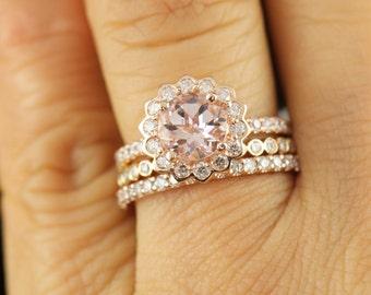 Jane Set 1 - Jane Morganite and Diamond Engagement Ring, Petite Cadence Diamond Band and Heather Diamond Band, Stackable, Free Shipping