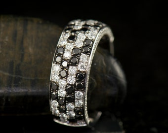 Valerie - Black and White Diamond Fashion Ring in White Gold, Round Brilliant Cut, Checkerboard Design, Right Hand Ring, Free Shipping