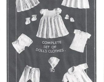 "Vintage Knitting Pattern to knit complete doll's outfits. - 1930's - Vintage 3-4ply yarn.18-19"" Doll"