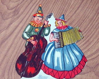 Vintage Diecut Jester with Bass & Woman on Accordion Thick Paper