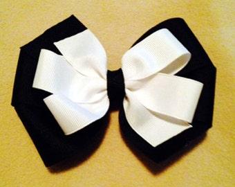 Black and White 2 Layer Pinwheel Style Hair Bow