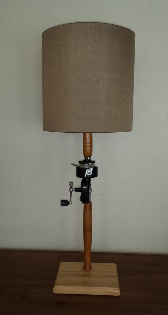 FISHING POLE LAMP, Antique Fishing Rod and Reel Lamp, Coastal Lamp ...