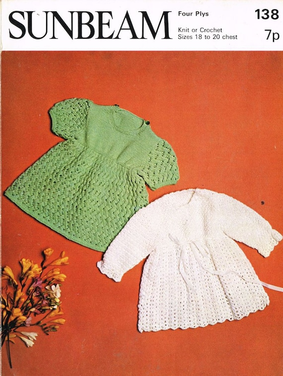 Sunbeam Knitting Patterns : Sunbeam 138 baby matinee coats vintage knitting and by Ellisadine