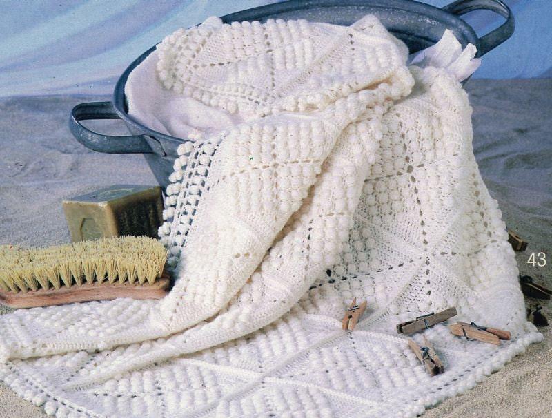Vintage Crochet Patterns Baby Blankets : Puff Ball crochet baby blanket pram vintage crochet by ...