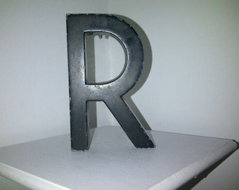 Vintage Industrial Letter R Heavy Cast Metal