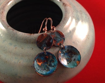 Unique copper patina earrings