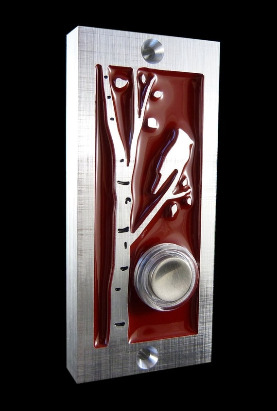 Modern Bird Doorbell with Lighted Button by ModishMetalArt on Etsy