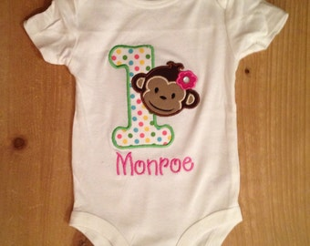 Birthday Monkey Shirt or Baby Bodysuit