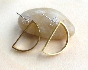 Half Circle Earrings ~ Golden Brass Half Circle Geometric Post Earrings