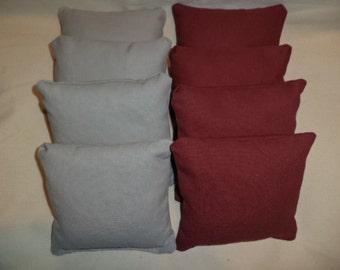 Cornhole bags Maroon Burgundy and Grey gray corn hole bean bags 8 ACA Regulation bean bags