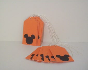 Mickey Mouse Gift Tags, Orange and Black, set of 12