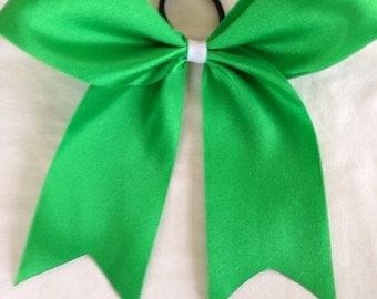 Large Green cheer bow hair bow