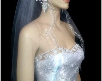 "1 Tier 30""x72"" White/Ivory/ Off White Veils Wedding/Bridal Embrodired Embellished Pencil Edge / Scalloped Edge"