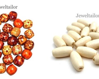 Jeweltailor Mixed Large Hole Wooden Beads 16mm ~ Pack of 20 With 10 FREE Ivory Tube Beads 15mm
