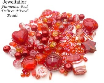 Flamenco Red Deluxe 80 Grams (400+) Hand-Mixed Glass & Metal Beads With Rare Lampwork, Pearls, Seed, + Mixed Metal Beads Medley