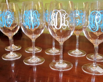 Monogrammed Plastic/Acrylic Wine Glass with Stem