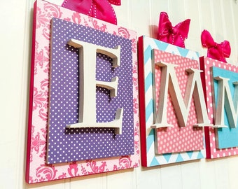 Nursery letters, Pink and Purple Nursery Letters,Personalized letters, Girls Nursery Letters,Custom nursery letters, Girls Wall Letters