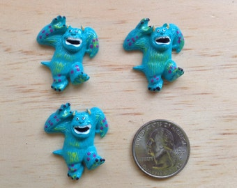 Monsters Inc James Silli Inspired Flat Back Resins - Cabochon - Bow Center - Embellishment-Party Decor 3 pieces