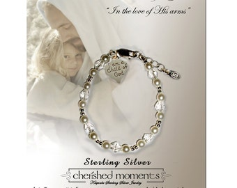 "Sterling Silver First Communion Bracelet with Swarovski Pearls and ""I am a Child of God"" Heart Charm for First Communion Gift for Girls"