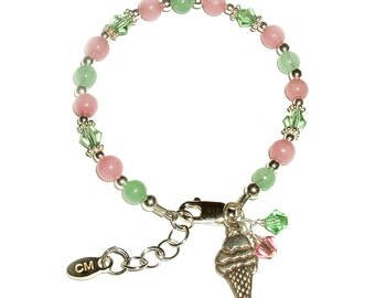 SALE**Children's Sterling Silver Pink and Lime Bracelet with Ice Cream Cone Charm for Girls in Gift Box (030)
