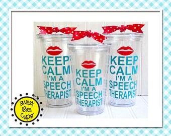 slp gift - Keep Calm I'm a Speech Therapist Personalized Acrylic Tumbler - Speech Therapist gift, ASHA member, Large Personalized Cup