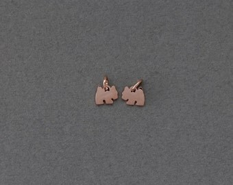 Dog Brass Pendant . Jewelry Craft Supply . Polished Rose Gold Plated over Brass  / 2 Pcs - BC116-RG