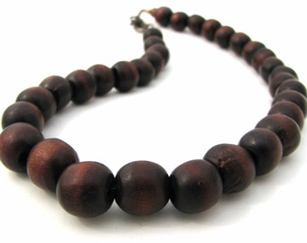 Wood Necklace with Copper Clasp